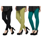 Cotton Lycra Legging Combo Of 3 - Black,light Green,dark Blue