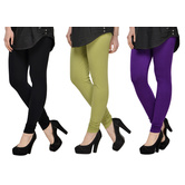 Cotton Lycra Legging Combo Of 3 - Black,light Green,purple