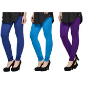 Cotton Lycra Legging Combo Of 3 - Blue,light Blue,purple