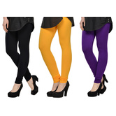 Cotton Lycra Legging Combo Of 3 - Black,yellow,purple