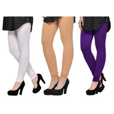 Cotton Lycra Legging Combo Of 3 - White,beige,purple