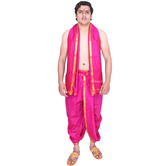Ekolhapuri Stitched Men\'s Art Silk Dhoti And Angavastram Set