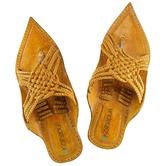Ekolhapuri Light Yellow Maharaja Style Five Braided Cross Design Kolhapuri Chappal For Men