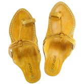 Ekolhapuri Light Yellow Kurundwadi Kolhapuri Ladies Chappal