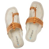 Ekolhapuri Metallic Orange Kolhapuri Chappal  For Women