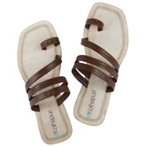 Ekolhapuri Dark Brown Three Laces Toe Ring Style Flip Flop Kolhapuri Chappal