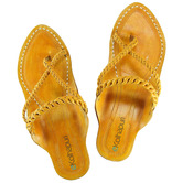 Ekolhapuri Light Yellow Braided Platform Heel Ladies Chappal