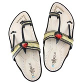 Attractive Black And White With Golden Belt Handmade Leather Sandal For Men