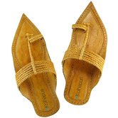 Ekolhapuri Light Yellow Maharaja Style Six Braided Kolhapuri Chappal For Men