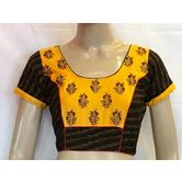 Intrigue Black Ikkat Cotton Yoke Embroidered  Blouse