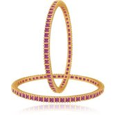 M Creation M Creation Gold Ruby Coloured Stone Gold-plated Bangle Set For Women B114r(pack Of 2)
