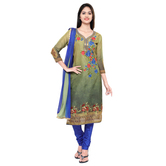 Craftsvilla Multicolor  Embroidered Un-stitched  Dress Material