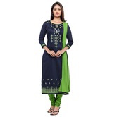 Craftsvilla Blue And Green Cotton Un-stitched Dress Material