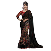 Black Georgette Paisley Print Saree With Blouse