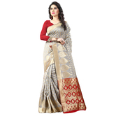 Shree Sanskruti Women\'s Embellished Tassar Silk Woven Banarasi Grey And Red  Designer Saree For Women Suit In Every Occasion, Party, Festive, Wedding, Casual, Bollywood