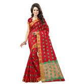 Shree Sanskruti Women\'s Embellished Woven Polycotton Banarasi Red And Golden Color Saree For Women With Un-stitched Blouse Pic  Suit In Every Occasion, Party, Festive, Wedding, Casual, Bollywood
