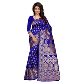 Blue Banarasi Silk Jacquard Saree With Blouse