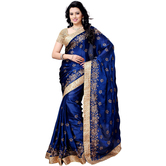 Shree Sanskruti Self Design Satin Chiffon Blue Color Saree