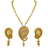 Inaya Gold Plated Color With Pearl Copper Pendant Set