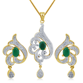 Inaya Green Stone And Man Made American Diamond Pendant In High Gold Plated Look