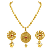 Inaya Maroon Stone And Gold Plated Pendant With Pearl