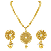 Inaya Gold Plated Pendant With White Stone