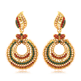 Inaya Multicolour And Gold Plated Chandbali Earring