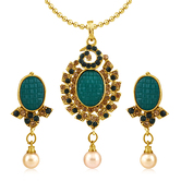 Inaya Green Stone And Man Made Pendant In High Gold Plated Look