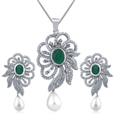 Inaya Silver Plated American Diamond Pendant With Pearl