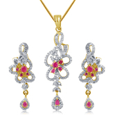 Inaya Gorgeous Pink Stone And High Gold Plated Look Fashion American Diamond Pendant