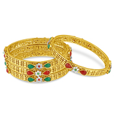 Inaya Multicolour Stone Kada In High Gold Plated Look