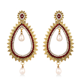 Inaya Best-selling Red And High Gold Look Fashion Chandbali Earring