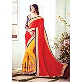 Viva N Diva Red & Yellow Colored  Georgette Saree.