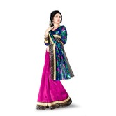 Klp Royal Blue Two In One Saree