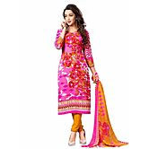 Saara Pink And Yellow Unstitched Dress Material