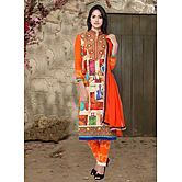 Saara Cream And Orange Embroidered Dress Material 373d3095a