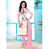 Saara Off-white And Pink Embroidered Glace Cotton Unstitched Dress Material 443d1352