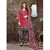 Saara Pink And Black Embroidered Dress Material 422d15008