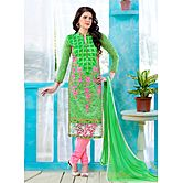 Saara Green And Pink Embroidered Glace Cotton And Net Unstitched Dress Material 443d1351