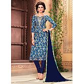 Saara Blue And Beige Embroidered Glace Cotton Unstitched Dress Material 439d9008