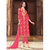 Saara Pink Embroidered Glace Cotton Unstitched Dress Material 439d9004