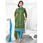 Saara Trendy  Green Embroidered Dress Material With Dupatta