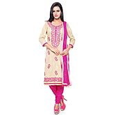 Saara Beige And Pink Brasso Cotton Unstitched Dress Material 448d4004