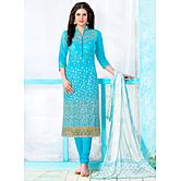 Saara Sky Blue Embroidered Glace Cotton Unstitched Dress Material 443d1357