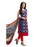Saara Navy Blue And Red Embroidered Chanderi Unstitched Dress Material 425d1004