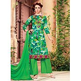 Saara Green Embroidered Glace Cotton Unstitched Dress Material 439d9002
