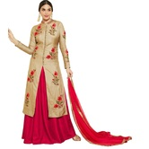 Zelly Creation Gold And Pink Indo Western Salwar Suit
