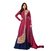 Sitaram Womans Semistitched Banglori Silk Lahenga Kurta Gown With Embroidery Type Dress Material.