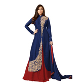Sitaram Womans Semistiched Banglori Silk Lahenga Kurta Gown With Embroidery Type Dress Material.