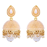 Dome Of Pearl White Jhumka - Earrings By Crunchyfashion